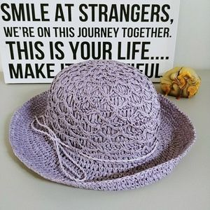 PURPLE STRAW HAT OLD FASHIONED WITH TIE PATTERN
